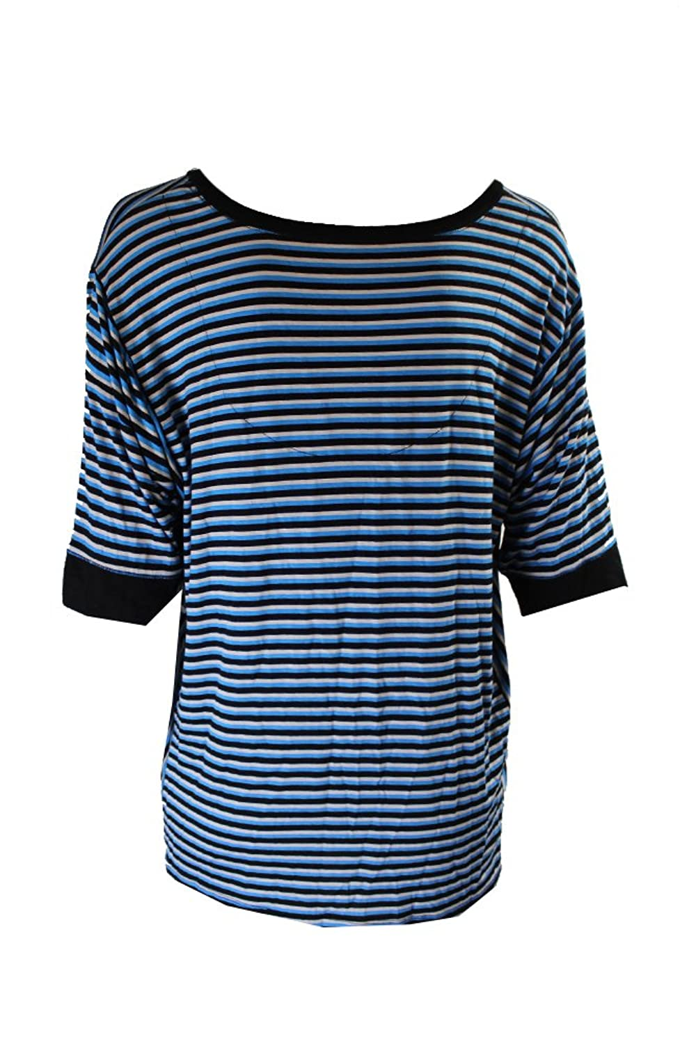 Dkny Womens Striped 3/4 Sleeve Pajama Sleep T-Shirt