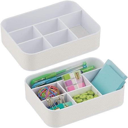 mDesign Juego de 2 cajas clasificadoras de plástico para oficina – Práctica bandeja organizadora para material de oficina y papelería – Organizador de escritorio con 6 compartimentos – blanco: Amazon.es: Hogar