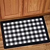 Sweet Home Collection Memory Foam Anti Fatigue Durable Non Skid Rug for Long Standing Comforter, 30'' x 18'', Buffalo Check Black/White