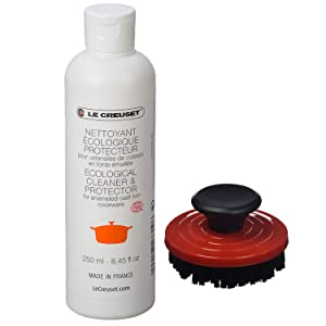 """Le Creuset 2-Piece Cleaning Set, Nylon Brush Kitchen Product, 3.25"""", Cerise with Enameled Cast Iron 8.45 fl. oz. Cookware Cleaner"""