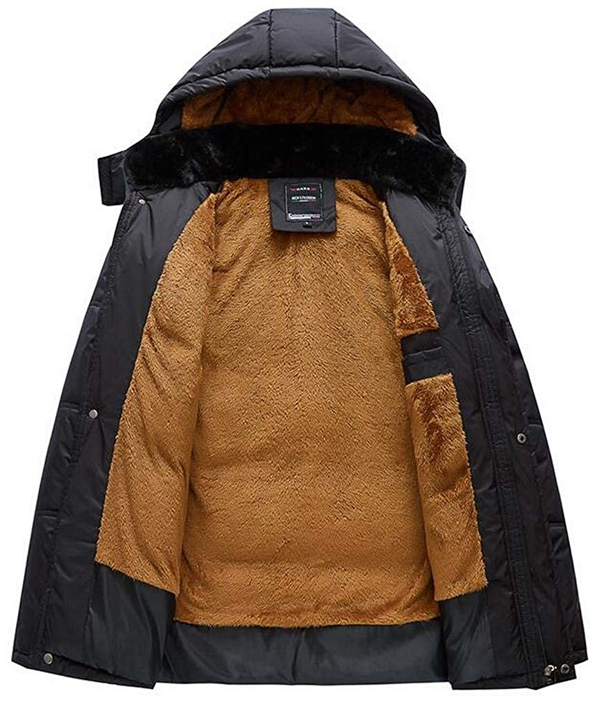 Fensajomon Mens Thick Faux Fur Lined Faux Fur Collar Hooded Down Quilted Jacket Coat Outwear