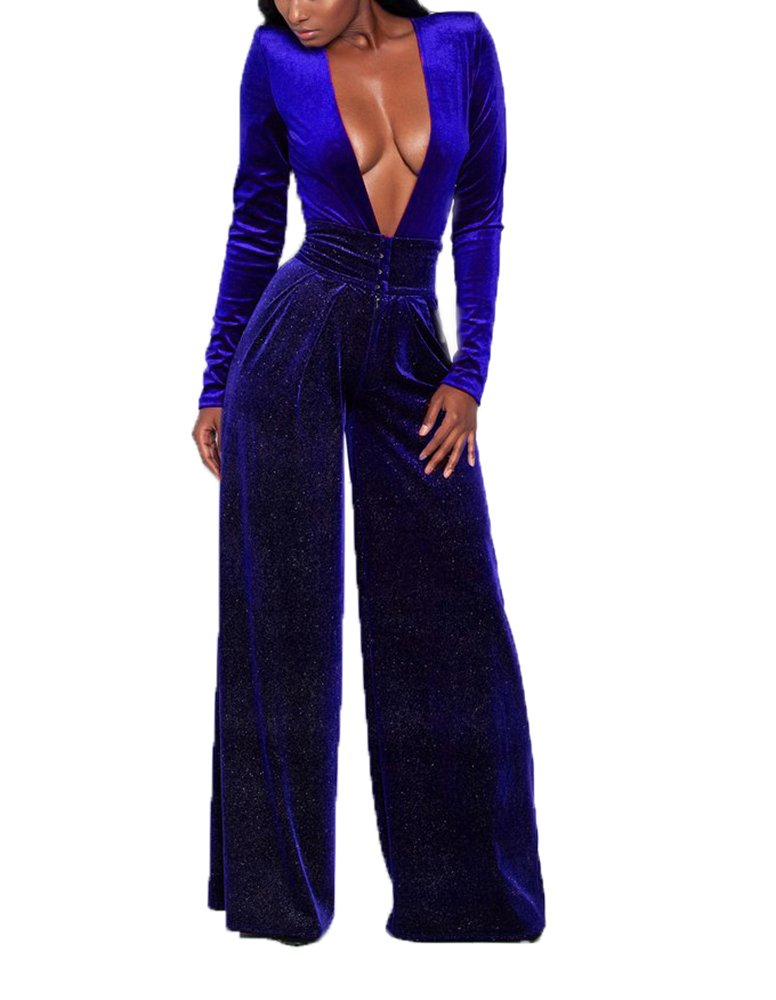 Women's Sexy V Neck Long Sleeve High Waist Loose Pants Velvet One Piece Jumpsuits Rompers for Ladies Blue