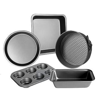 haoun 5pcs - Juego de moldes para magdalenas (antiadherente, redonda para tartas, cuadrado para tartas, pan, molde, molde para pan, color negro: Amazon.es: ...