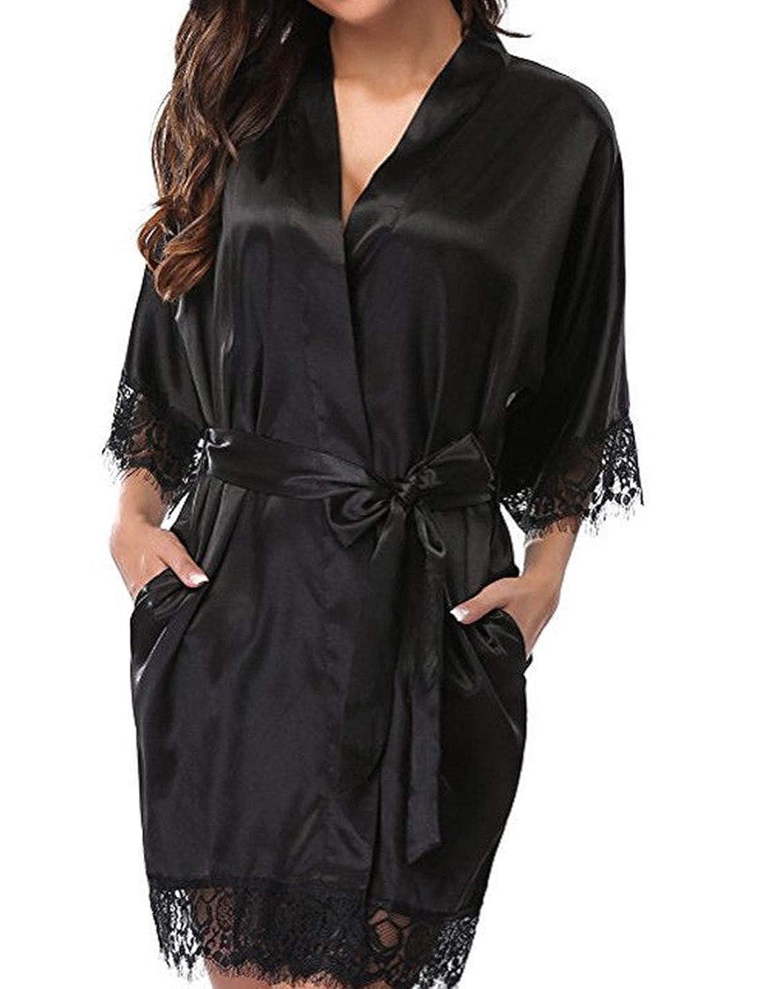 Naliha Las Mujeres Vestido Kimono Albornoz Lace Stich Wrap ...