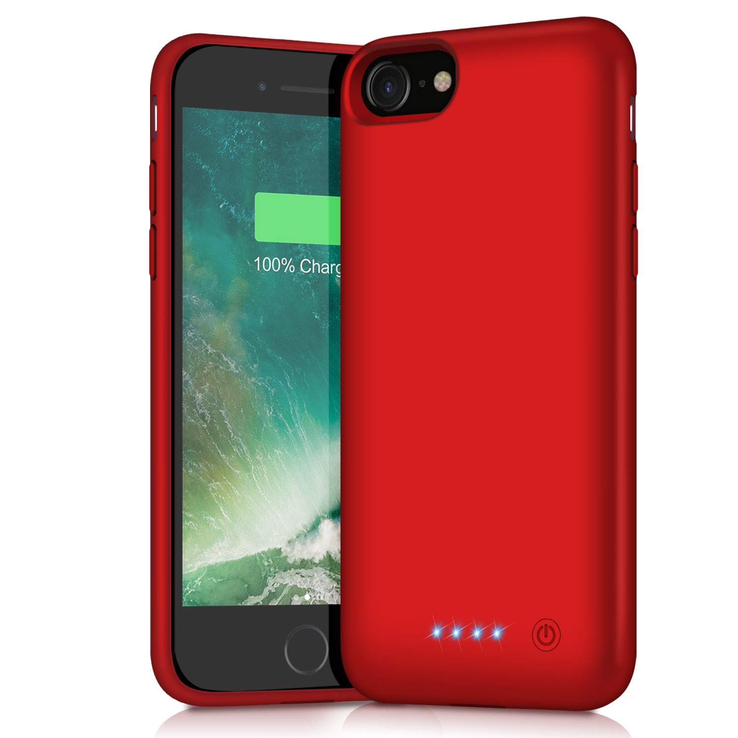 Battery Case for iPhone 8/7, 6000mAh Portable Rechargeable Battery Pack Charger Case for Apple iPhone 8 iPhone 7 [4.7 Inch] Extended Charging Case Protective  Power Bank Backup Cover - Red Pxwaxpy