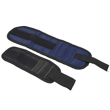 blu 2pcs Bracelet Magn/étique,Sac /à Outils de Poignet Aimant R/églable Portable,Incorpor/é avec des Aimants Super Puissants,Id/éal pour le Travail du Bois,Am/élioration de lHabitat,Construction