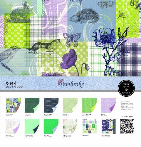 Sew Easy Industries 24-Sheet Paper and Die Cut Assortment Pack, 12 by 12-Inch, Pembroke by Sew Easy Industries