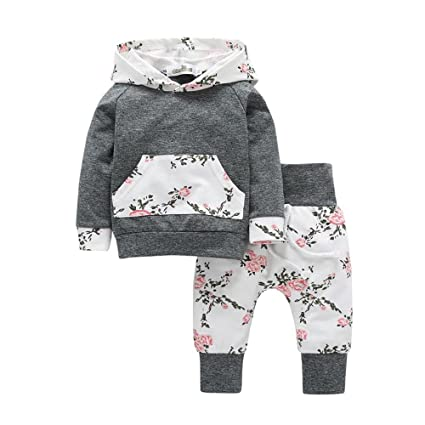 7d2924eca Teresamoon Sale Floral Outfits ,Baby Boy Girl Long Sleeve Clothes Set  Hoodie Tops Pants (0-6 Months