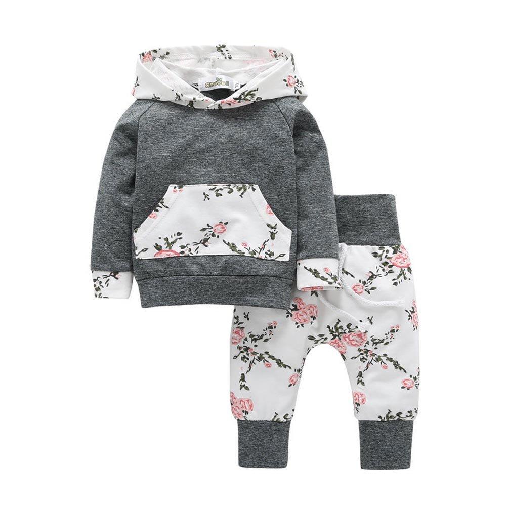 JiaMeng Ropa Ni?a 2pcs Ni?o Peque?o Beb¨¦ Ni?o Ni?a Ropa Conjunto Floral con Capucha Tops + Pantalones Trajes