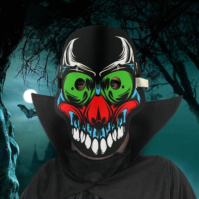 Máscaras Halloween Payaso, Zolimx Máscara de Moda LED Partido de Halloween Neón Luminoso Alambre Brillante Cráneo Luz (☆-01): Amazon.es: Bebé