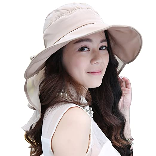 e5e09076249 Flyou Sun Hats Foldable Beach Cap for Women UPF50+ Wide Brim UV Protection  Beach Hat Neck