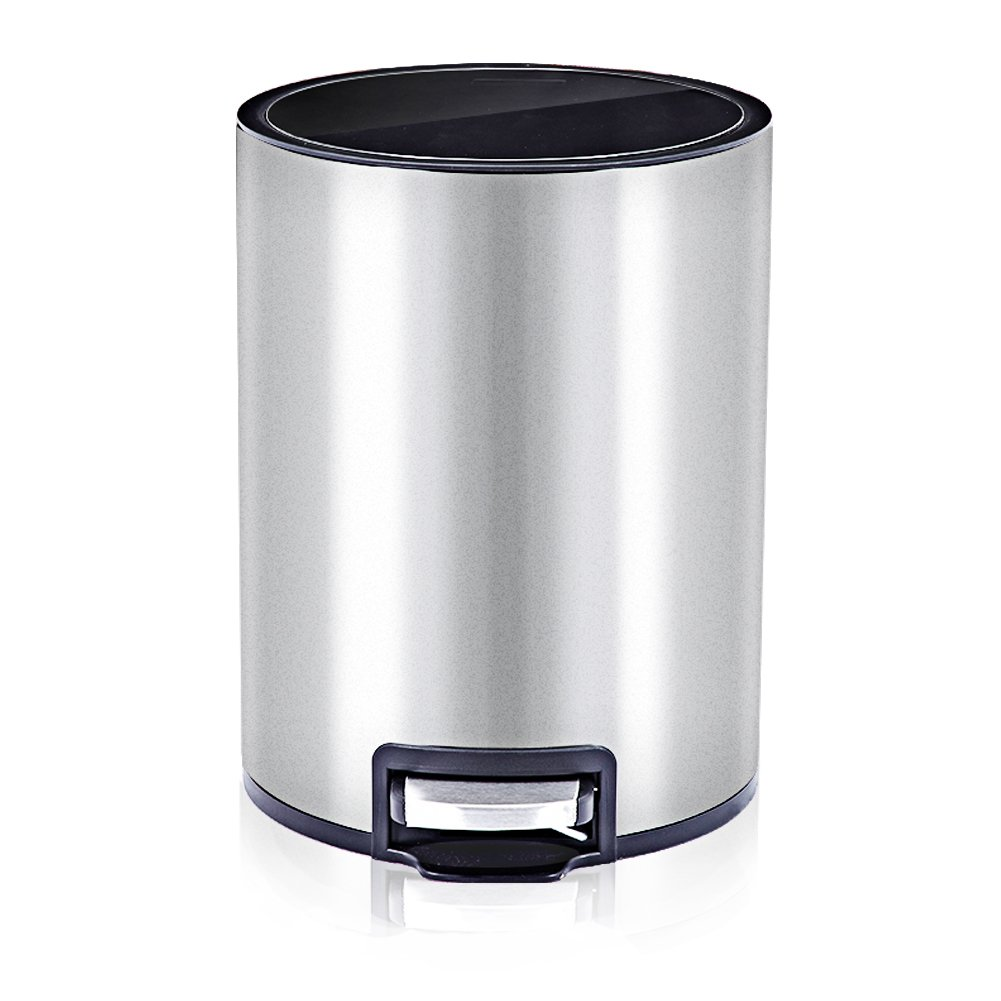 8 Liter/2.2 Gallon Stainless Steel Round Step Trash Can, Brushed Stainless Steel Trash Bin with Plastic Lid (silvery)