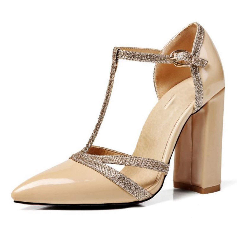 Nude shine-hearty Sexy Lady High Heel Sandals Women Ankle Strap Buckle Sandal Office Summer shoes Women Footwear