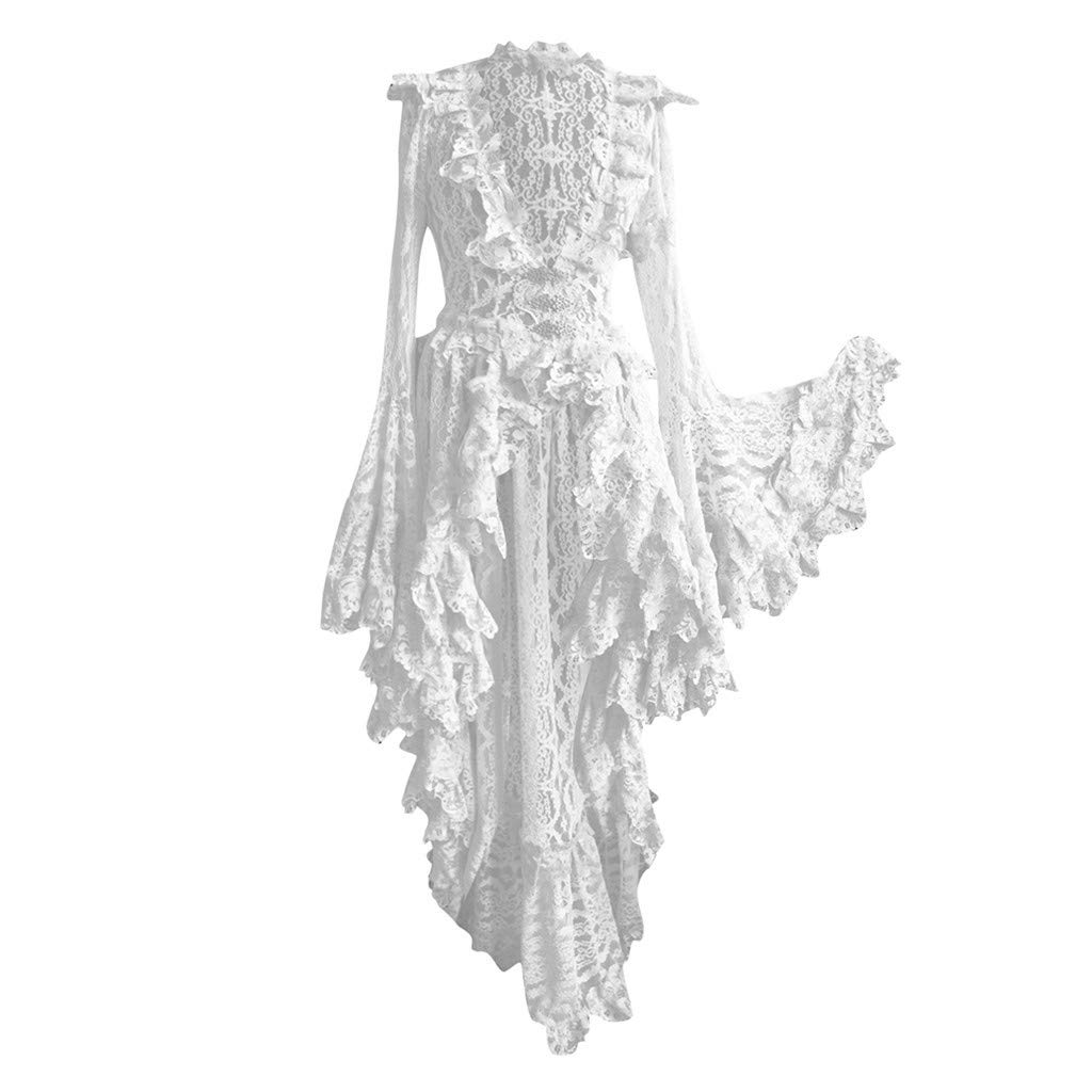 Women Plus Size Halloween Party Dress Vintage Black Steampunk Gothic Victorian Long Bell Sleeve V Neck Lace Ruffled Skirts by Daorokanduhp Women Dress