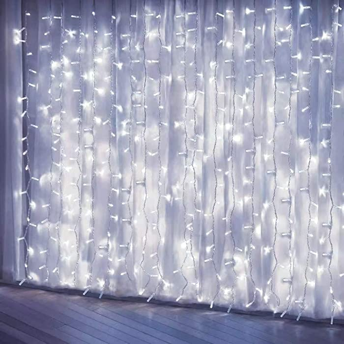 Curtain Lights, Upgrade 8 Lighting Modes Window Fairy Hanging Light, Icicle Christmas Ornaments Lights for Decoration Party Wedding Bedroom (Cool White)