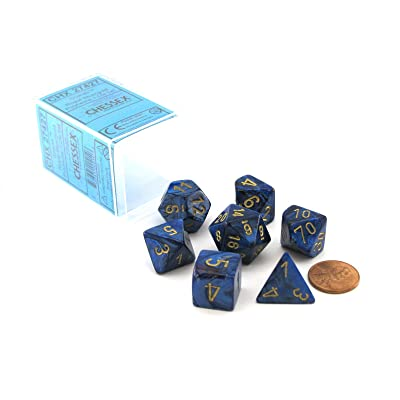 Chessex Polyhedral 7-Die Scarab Dice Set - Royal Blue with Gold CHX 27427: Toys & Games