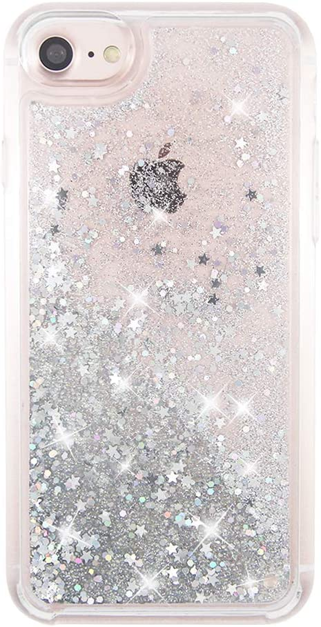 uCOLOR Silver Glitter Case Compatible for iPhone 6S/6/ iPhone 7/8/SE (2020) Shiny Waterfall Liquid Sparkling Quicksand Sparkle Luxury Cute Girls Women Protective Case for iPhone 8/7/6S/6/SE 2nd(4.7