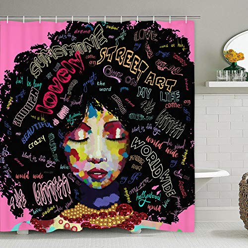 African American Shower Curtain Afro Rock Girl Shower Curtain with 12 Hooks, African Woman with Black Chic Hairstyle Shower Curtain Afrocentric Lady Shower Curtain, Waterproof & Durable