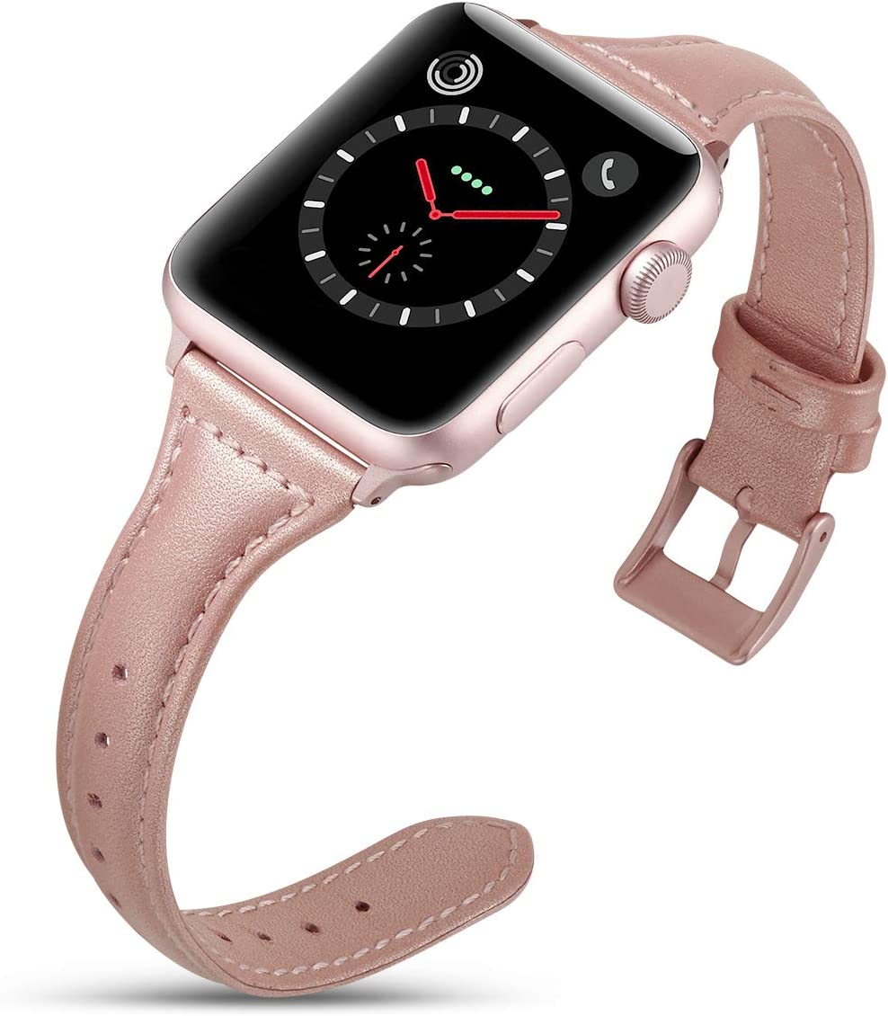 DaGeLon Compatible with Apple Watch Band 40mm Series 5 Series 4 38mm Series 3 2 1, Noble Elegant Leather Wristband Simple Stylish Chic Replacement Strap for iWatch Sport Edition Nike+, Rose Red