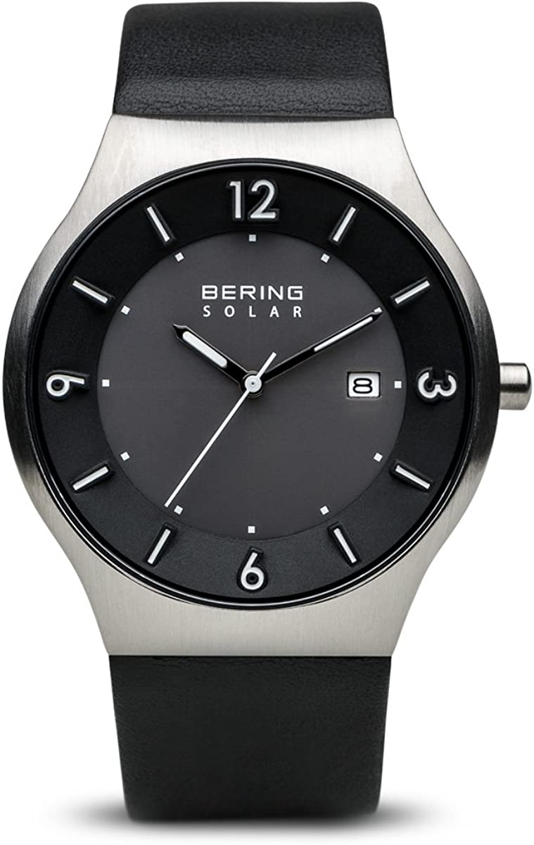 BERING Time 14440-402 Mens Solar Collection Watch with Calfskin Band and Scratch Resistant Sapphire Crystal. Designed in Denmark.