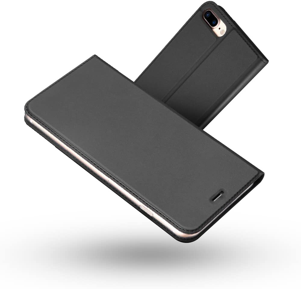 Radoo Funda iPhone 8 Plus,Funda iPhone 7 Plus, Slim Case de Estilo Billetera Carcasa Libro de Cuero,PU Leather con TPU Silicona Interna Suave para iPhone iPhone 7 Plus/iPhone 8 Plus (Gris Oscuro)