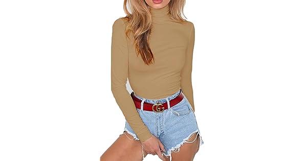 e8e17e57866 Sunfury Womens Turtleneck Long Sleeve Plain Snap Crotch Bodysuit Stretchy  Rompers