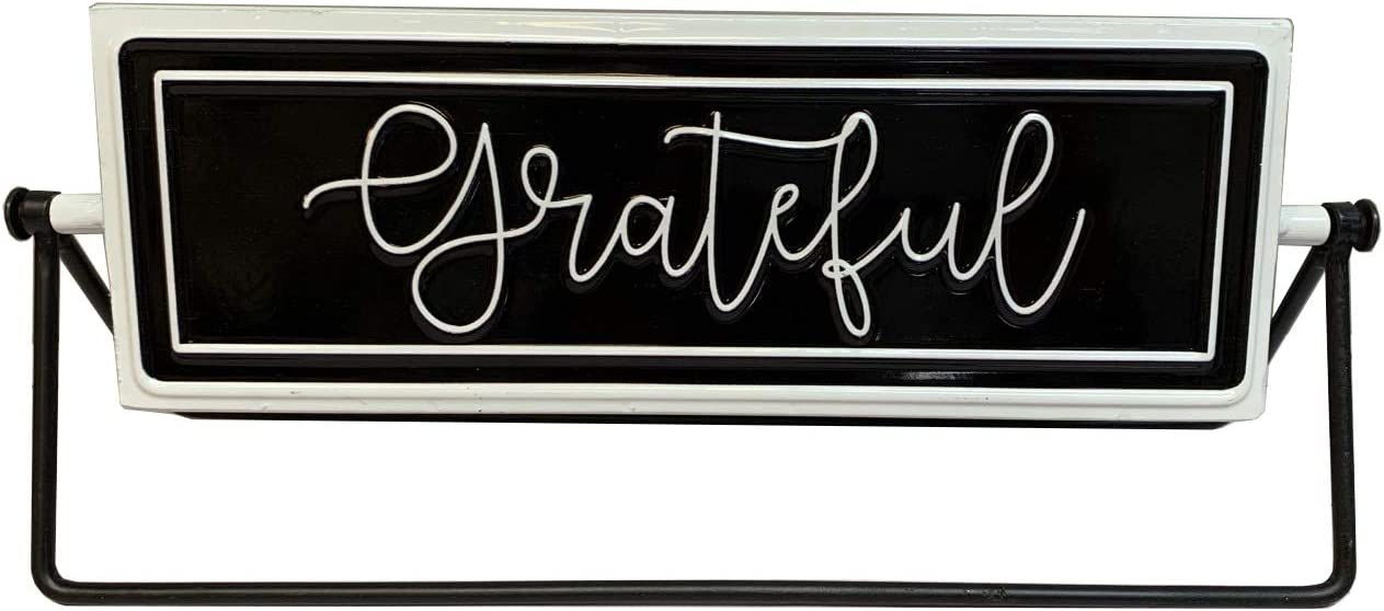 Thankful/Grateful Rotating Metal Tabletop Decor, Embossed Metal Words Modern Freestanding Sign Decor, Black/White, 12 x 3.125 x 4.875 inches