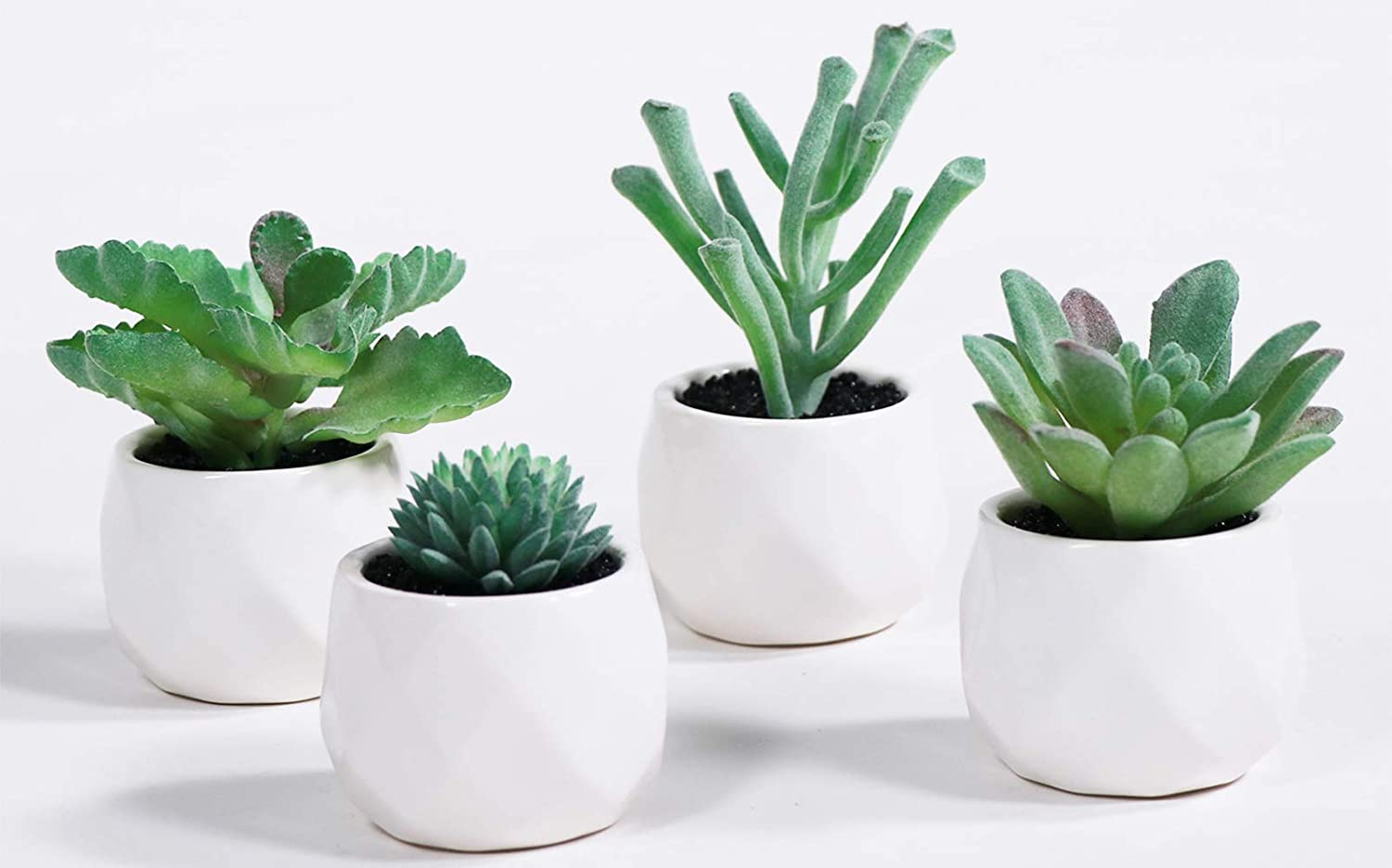 LITA Artificial Succulent Plants Fake Succulents Small Plants in White Ceramic Potted for Indoor Decor Office Room Desk Decoration4 Pots (Green -2)