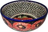 Polish Pottery Mixing, Pasta or Serving Bowl Unikat Red Garden