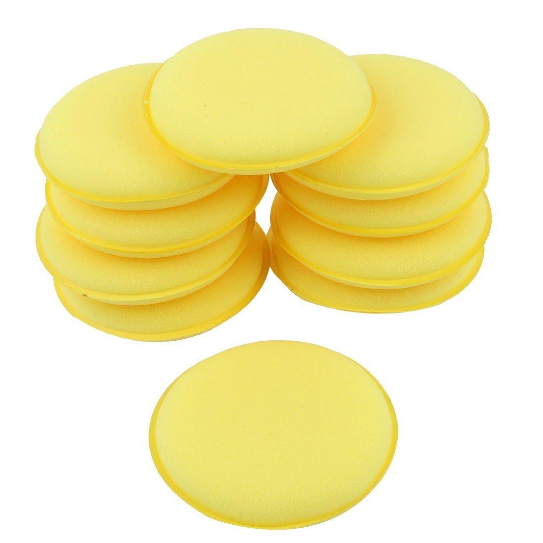 Cojin de esponja de cera de coche - TOOGOO(R)10 Pzs Frma redonda 4 pulgadas diametro Cojin de aplicador de cera de esponja Amarillo 4333115862