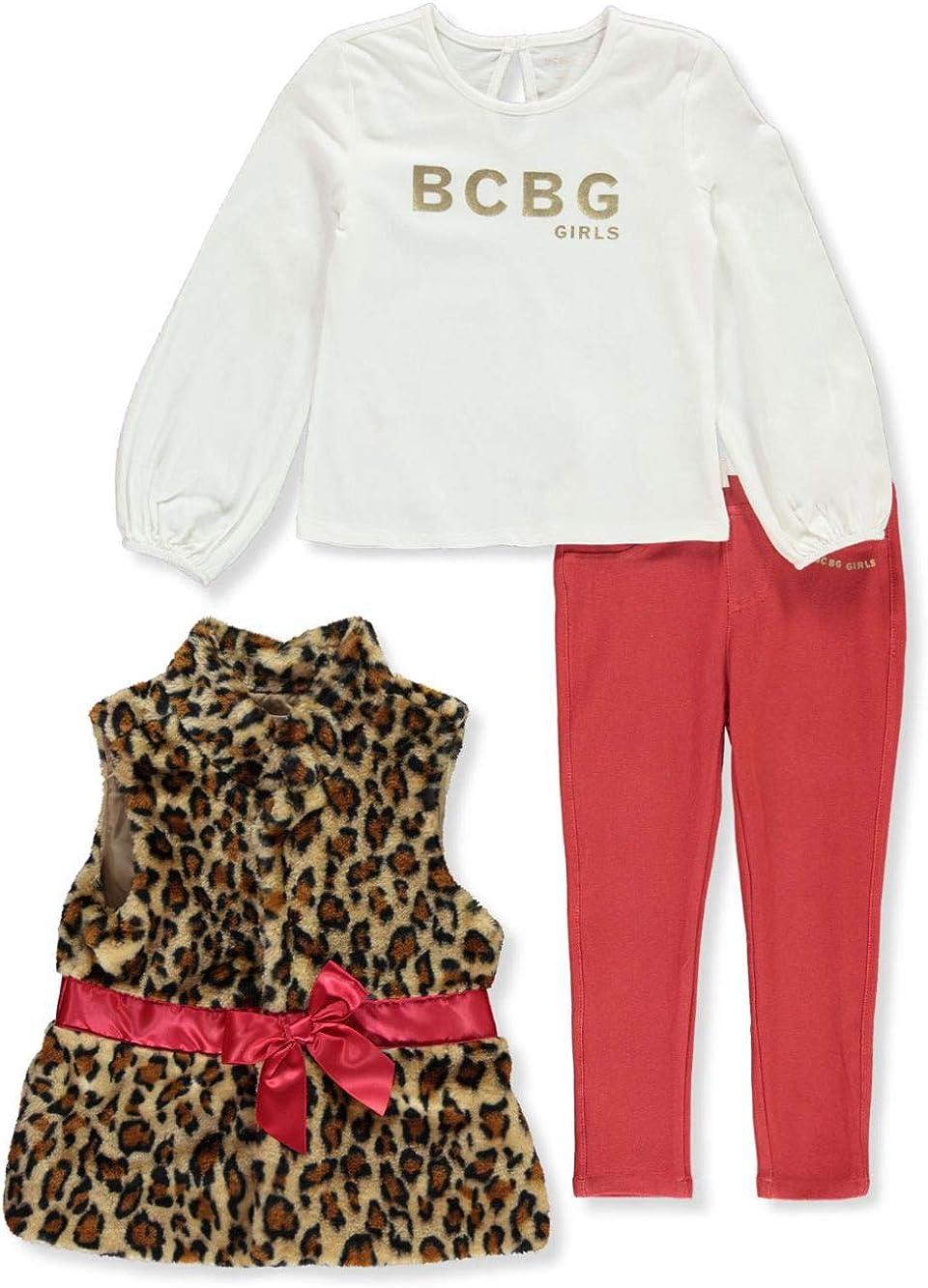 BCBG Girls Satin-Banded Leopard 3-Piece Pants Set Outfit
