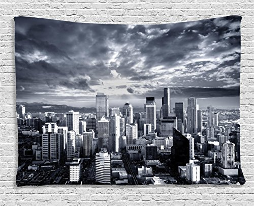 (Ambesonne Wanderlust Decor Collection, Seattle Cityscape Business Buildings Skylines Dark Clouds Sunset Artistic, Bedroom Living Room Dorm Wall Hanging Tapestry, 80W X 60L)