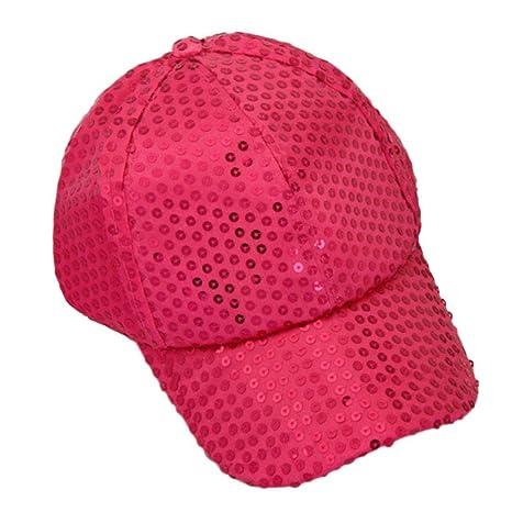 Xinantime Sombrero, Lentejuela Gorra De Beisbol Paño (Rosa Caliente)