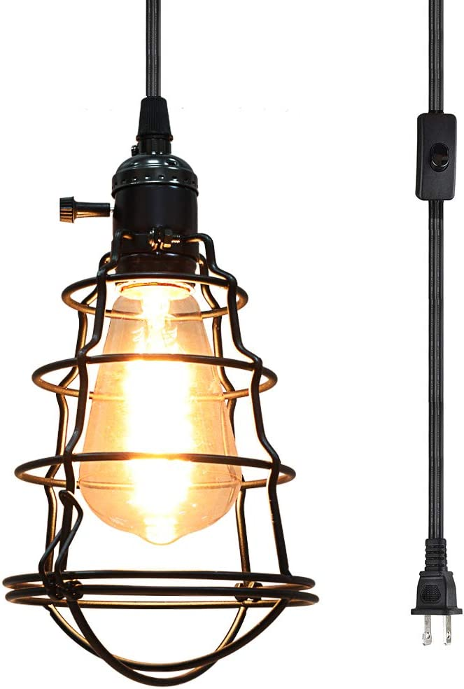 COOLWEST Industrial Vintage Edison Hanging Caged Pendant Lighting E26 Mini Pendant Light Fixture 15Ft Cord Plug in On Off Switch for Home Party Kitchen