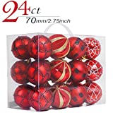 Valery Madelyn 24ct 70mm Trendy Red and Black Shatterproof Christmas Ball Ornaments Decoration, 7cm/2.75inch ,24 Pcs Metal Hooks Included, Themed with Tree Skirt(Not Included)