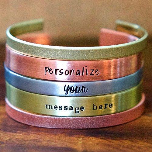 Handmade Silver Bangle - IF - Personalized Cuff Bracelet in Silver, Gold, or Copper, Bangle Bracelet, Hand Stamped, Custom Cuff Bracelet, 14 gauge inspirational Bracelet - Custom Bracelets - Made in Wisconsin