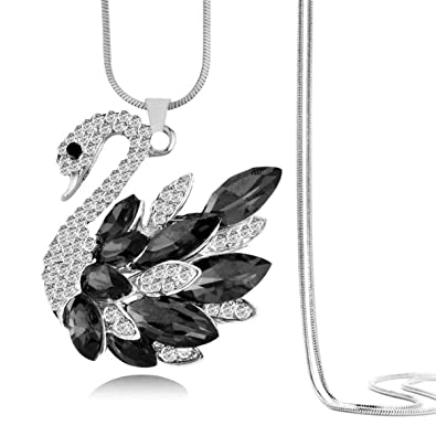 b5c4d954a Buy ZIVOM® Swan Black Rhodium Plated Brass Pendant Chain for Women- Online  at Low Prices in India | Amazon Jewellery Store - Amazon.in