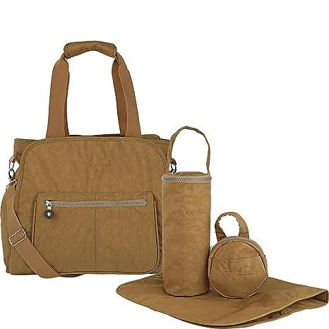 Suvelle - Conjunto de 4 piezas para cochecito de bebé, incluye bolso de mano para los pañales del bebé, con chip RFID marrón Beige/Brown