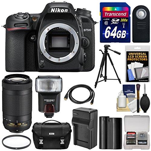Nikon D7500 Wi-Fi 4K Digital SLR Camera Body with 70-300mm VR AF-P Lens + 64GB Card + Battery & Charger + Case + Tripod + Flash + Kit