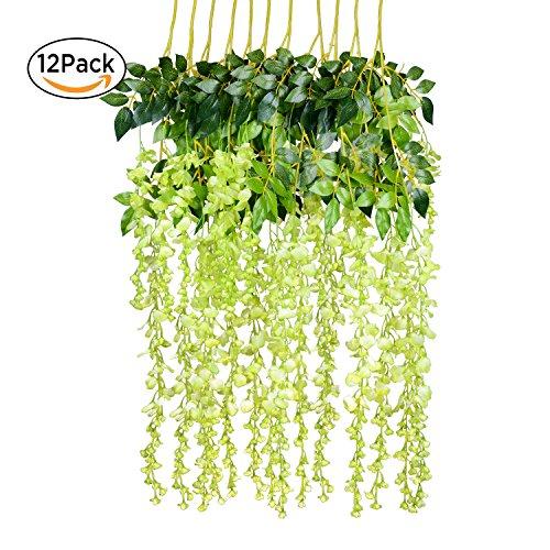 12 Pack 1 Piece 3.6 Feet Artificial Fake Wisteria Vine Ratta Hanging Garland Silk Flowers String Home Party Wedding Decor (Green) - Hanging Vine