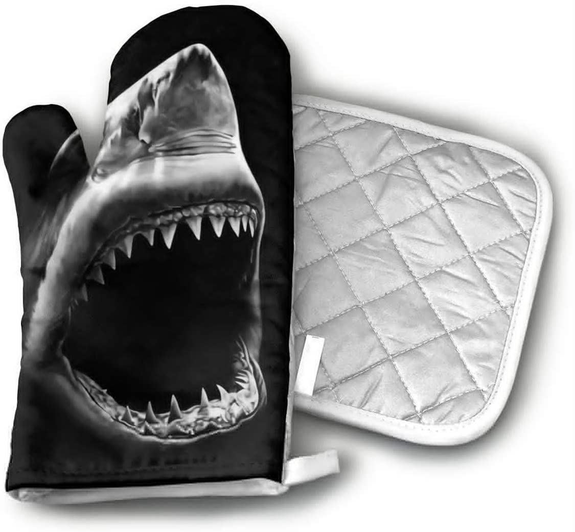 CHFSTi Oven Mitts Black and White Shark Non-Slip Silicone Oven Mitts& Pot Holders, Heat Resistant to 500Fahrenheit Degrees Kitchen Oven Gloves