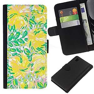 WINCASE Cuadro Funda Voltear Cuero Ranura Tarjetas TPU Carcasas Protectora Cover Case Para Sony Xperia Z1 L39 - flores verdes flujo verano