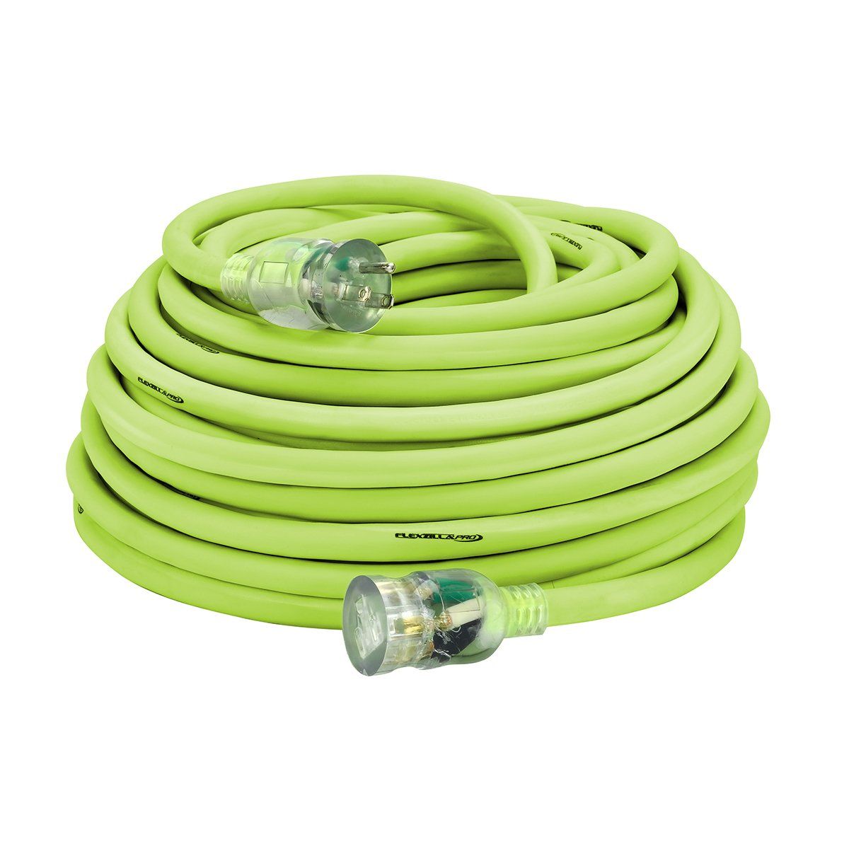 Flexzilla Pro Extension Cord, 10/3 AWG SJTW, 100 ft., Lighted Plug, Indoor/Outdoor, ZillaGreen - 727-103100FZL5F