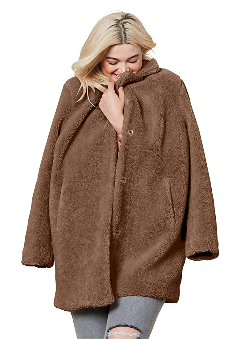 Ellos Women's Plus Size Teddy Faux Fur Coat