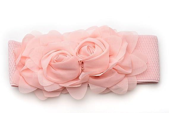 98df6124903b Oh La Belle Cravate ceinture elastique femme fleur roses tissus mode neuf  rose