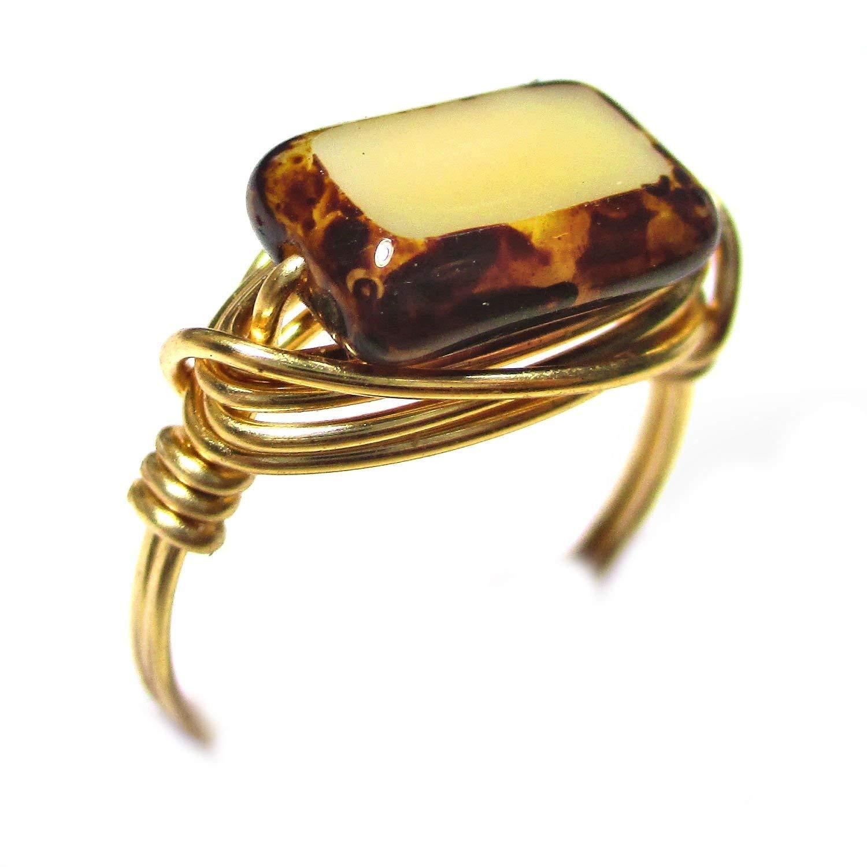 Tortoise Shell Czech Art Glass Gold Wire Wrap Ring