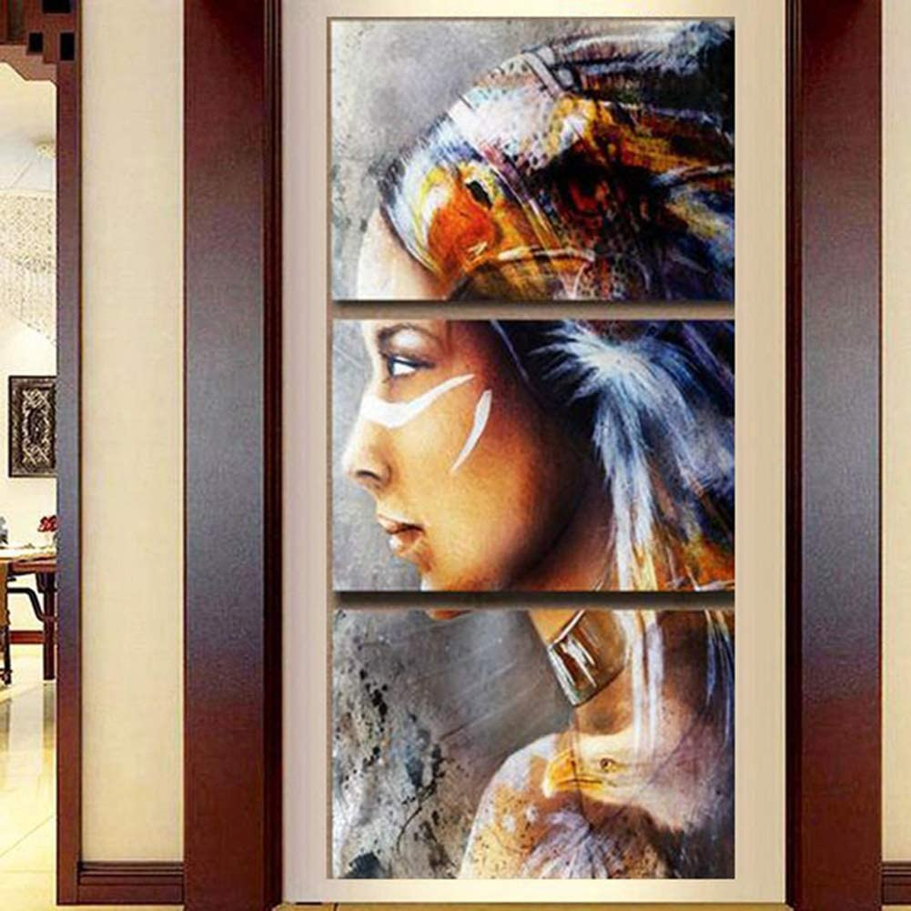 3 Panel HD Native American Indian Painting On Canvas Print Home Decoration