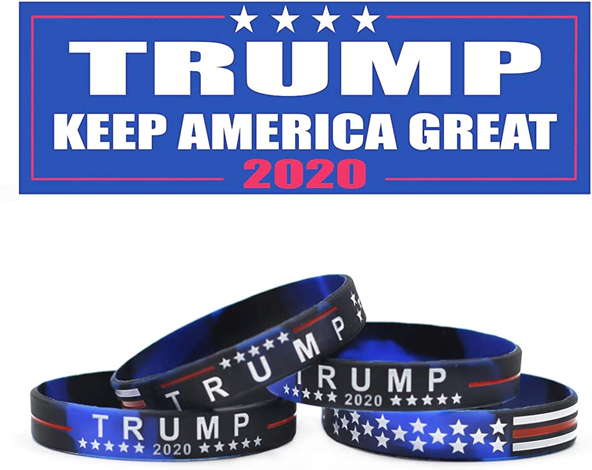 Yangmics Direct 4 Trump Keep America Great for President 2020 Silicone Bracelets - Inspirational Motivational Wristbands - Adults Unisex Gifts for Teens Men Women Boy Girl-Rally Must-Have Items