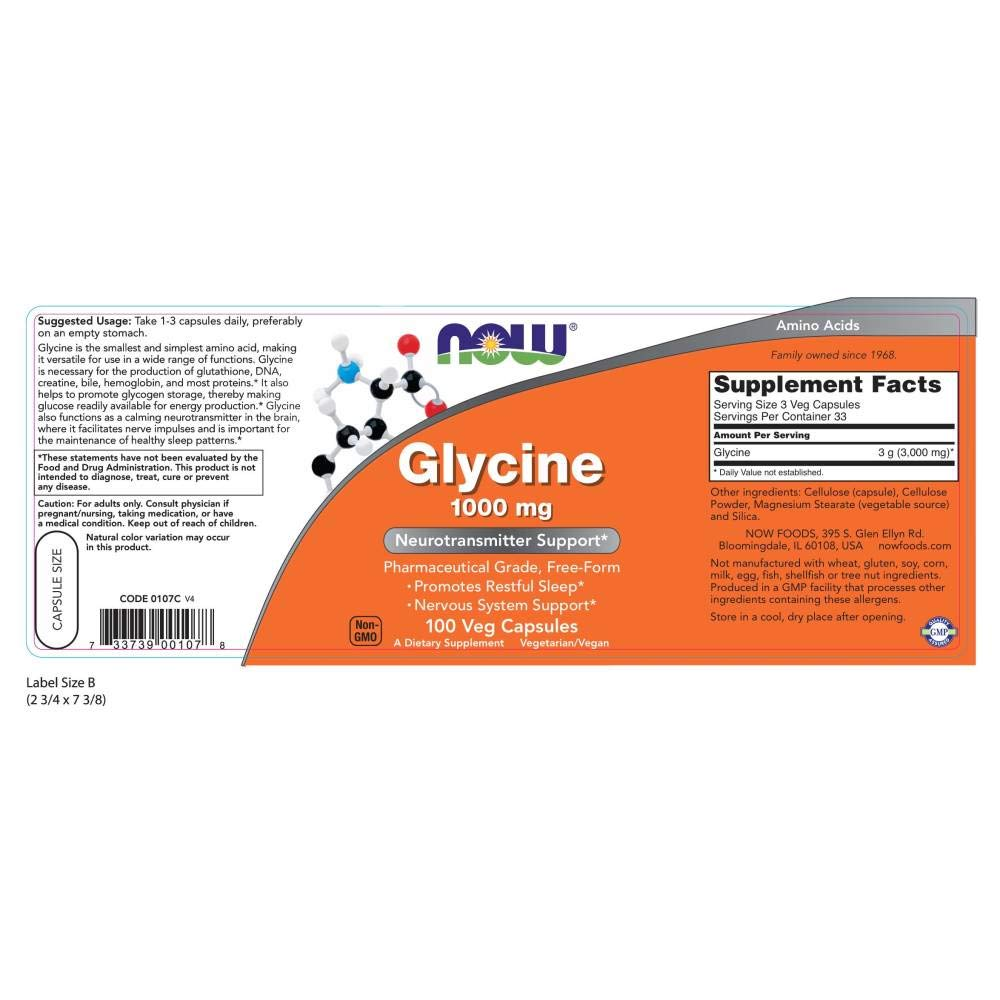 Now Foods Glycine 1000mg, Capsules, 100-Count: Amazon.es: Salud y cuidado personal