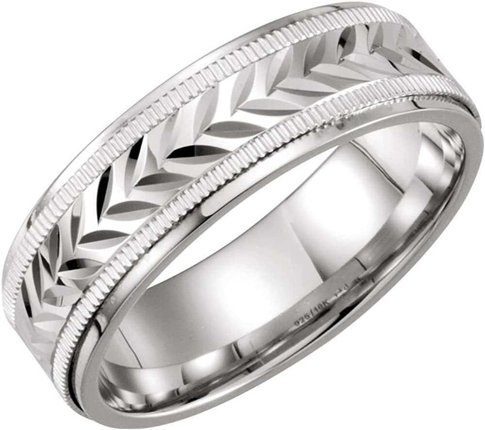 Sterling Silver /& 10K White Gold 7mm Comfort-Fit Band Size 9